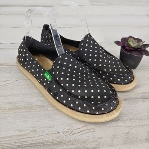 Sanuk Black Poka Dot Loafers Yoga Slip Ons
